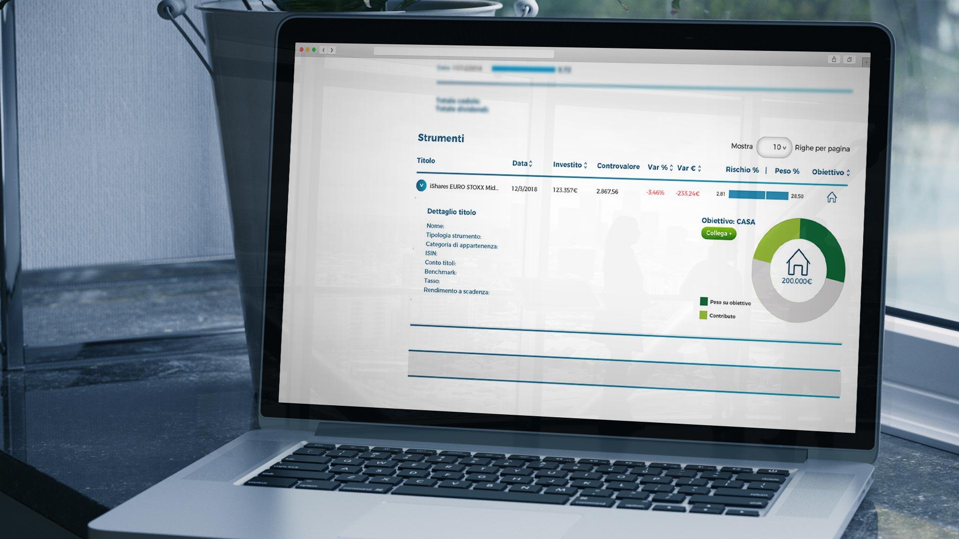 Piattaforma consulenti finanziari: dettaglio strumenti finanziari clienti - Fairvalyou